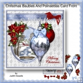 Christmas Baubles And Poinsettias Card Front