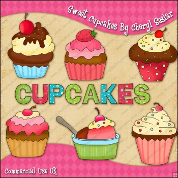 Sweet Cupcakes ClipArt Graphic Collection