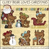 Cloey Bear Loves Christmas ClipArt Graphic Collection