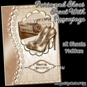 Purse and Shoes Card Front with Decoupage Layers