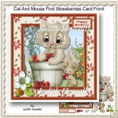 Cat And Mouse Find Strawberries Card Front