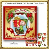 Christmas Elf With Gift Square Card Front