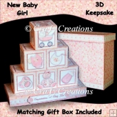 New Baby Girl 3D Keepsake Blocks