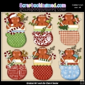 Gingerbread Mittens ClipArt Collection