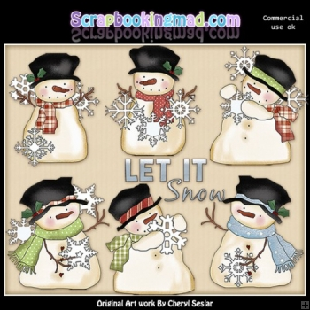Whimsical Snowmen Let It Snow ClipArt Collection