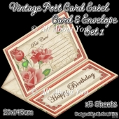 Vintage Post Card Easel Card & Envelope Set 1