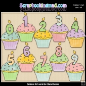 Birthday Cupcakes ClipArt Collection