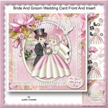 Bride And Groom Wedding Card Front And Insert