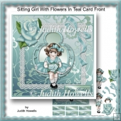 Sitting Girl With Flowers In Teal Card Front