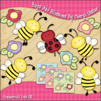 Bugs and Blossoms ClipArt Graphic Collection