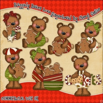 Raggedy Bears Love Gingerbread ClipArt Graphic Collection