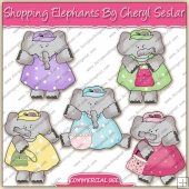 Shopping Elephants ClipArt Graphic Collection - REF - CS