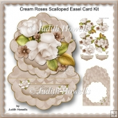 Cream Roses Scalloped Easel Card Kit