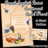Peach English Roses Sentiment Card Front
