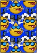 A4 Backing Papers Single - Blue Funny Face Football - REF_BP_155