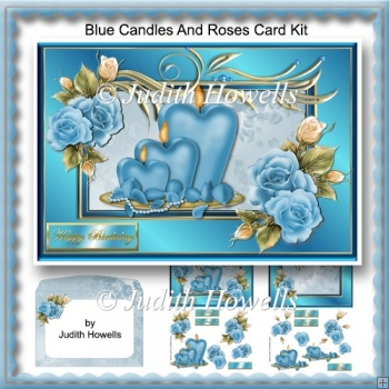 Blue Candles And Roses Card Kit