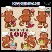 Silly Gingerbread Baked With Love ClipArt Collection