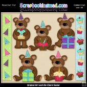 RESALE ART WORK - Silly Birthday Bears Collection