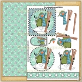 Skiing Penguin Party PDF Decoupage Download