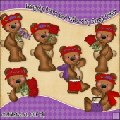 Raggedy Bears Red Hatters ClipArt Graphic Collection