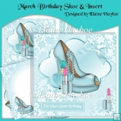 March Birthday Shoe Cardfront & Insert