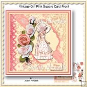 Vintage Girl Pink Square Card Front