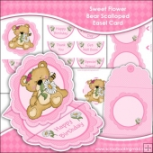 Sweet Flower Bear Scalloped Easel Card Download