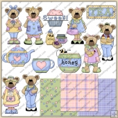 Teddy Thyme Tea Honey ClipArt Graphic Collection