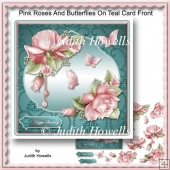 Pink Roses And Butterflies On Teal Card Front