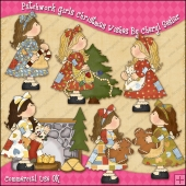 Patchwork Girls Christmas Wishes ClipArt Graphic Collection