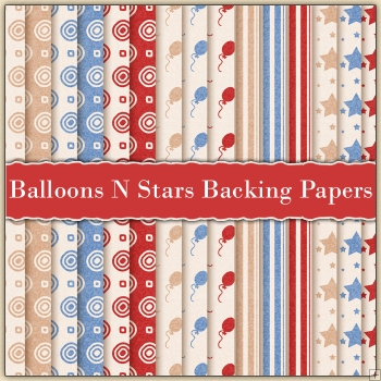 15 Balloons N Stars Backing Papers Download (C222)