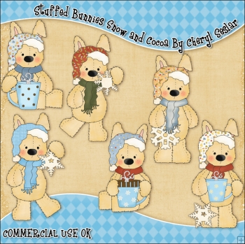Stuffed Bunnies Snow and Cocoa ClipArt Graphic Collection