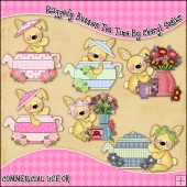 Raggedy Bunnies Tea Time ClipArt Graphic Collection