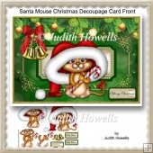 Santa Mouse Christmas Decoupage Card Front