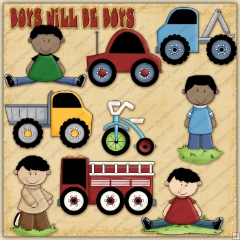 Boys Will Be Boys ClipArt Graphic Collection