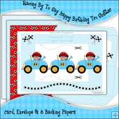 Racing By To Say Happy Birthday Tri Shutter Card