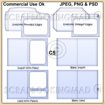 C5 Envelope Card & Insert Templates Commercial Use