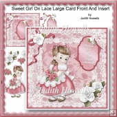 Sweet Girl On Lace Large Card Front And Insert