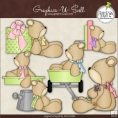 Cute Button Bears 1 ClipArt Graphic Collection