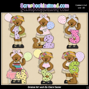 Bedilia Bear Birthday Numbers ClipArt Graphic Collection