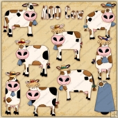 Country Cows ClipArt Graphic Collection