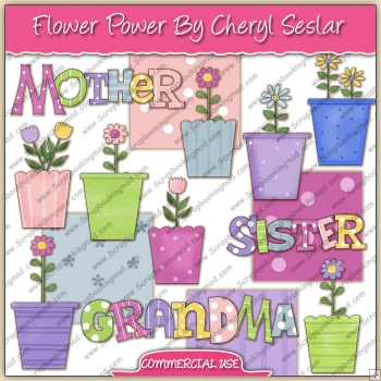 Flower Power ClipArt Graphic Collection - REF - CS