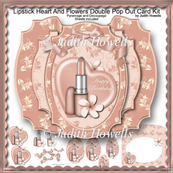 Lipstick Heart And Flowers Double Pop Out Card Kit