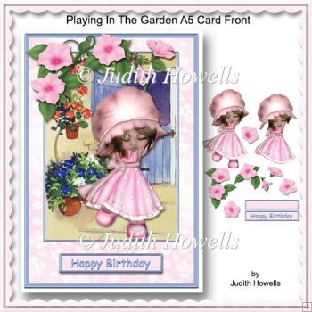 Playing In The Garden A5 Card Front