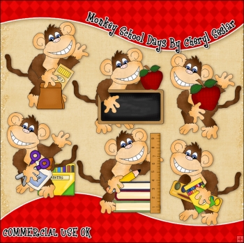 Monkey School Days ClipArt Graphic Collection