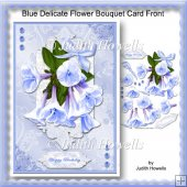 Blue Delicate Flower Bouquet Card Front