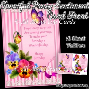 Fanciful Pansy Sentiment Card Front