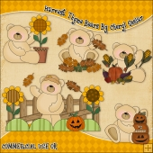 Harvest Thyme Bears ClipArt Graphic Collection