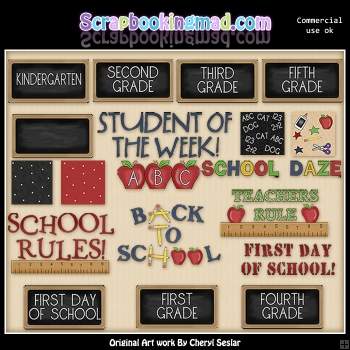 Back To School Titles & Backgrounds ClipArt Graphic Collection