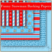 5 Funny Christmas Snowman Backing Papers Download (C196)